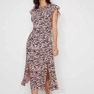 Warehouse Zebra Frill Sleeve Midi Dress